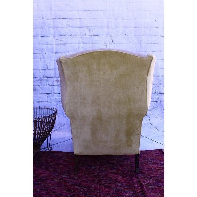 Image of Huge Antique Velvet & Needlepoint Wingback Armchair