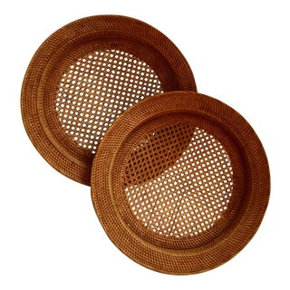Antique Rattan Cane Trays - A Pair