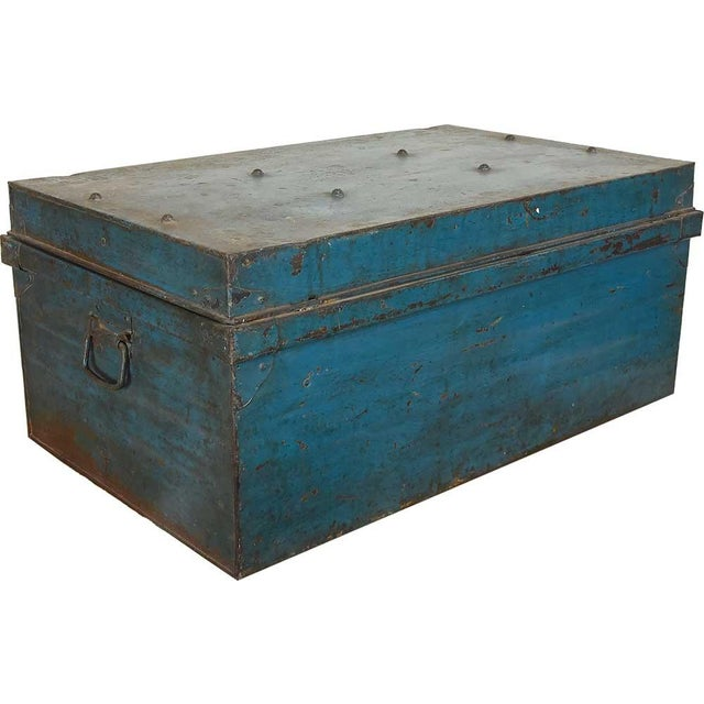 Image of 1950s Teal Iron Traveler's Trunk