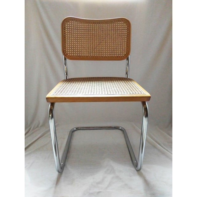 Vintage Marcel Breuer Style Chrome & Cane Chair - Image 3 of 7