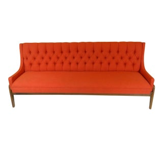 Mid-Century Modern Orange Upholstered Narrow Sofa
