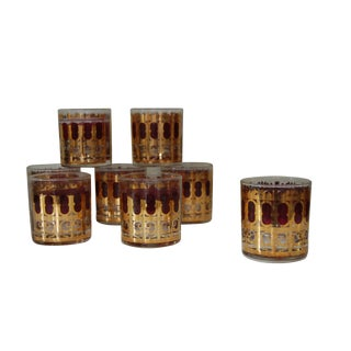 Culver Cranberry & Gold Gothic Glasses - Set of 8
