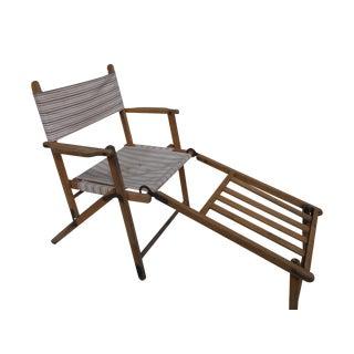 Antique Canvas Steamer Chair & Footrest