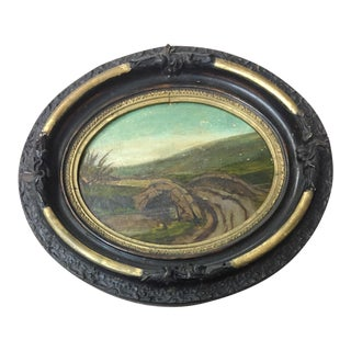 Antique Oval Framed Bow Bridge Oil Painting