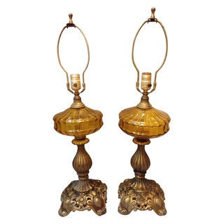 Mid-Century Bronze and Amber Table Lamps - A Pair