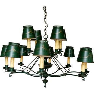 1940's Green Tole 12-Light Chandelier