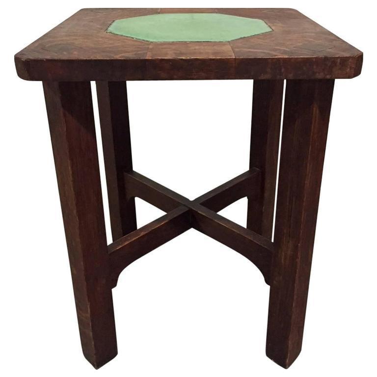 Rare Gustav Stickley Grueby Tile Top Table