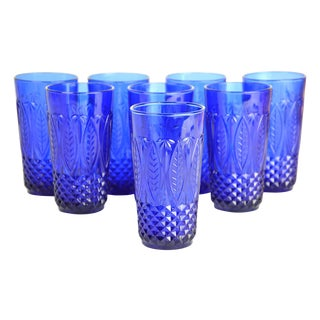 Vintage French Sapphire Tumblers - Set of 8