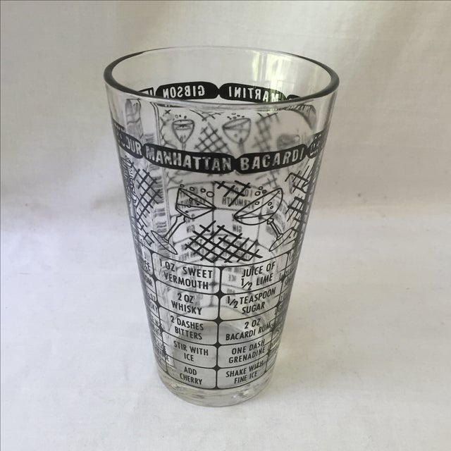 Vintage Cocktail Recipe Glass - Image 2 of 5