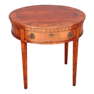 Mid-Century Modern Exotic Wood Inlaid Round Accent Table