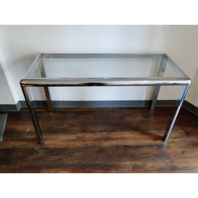 Mid Century Chrome and Glass Console Table - Image 3 of 8