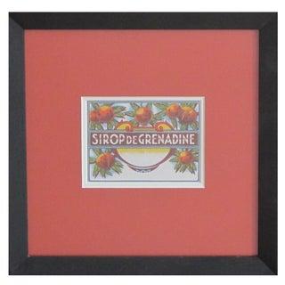 Framed French Vintage Grenadine Label