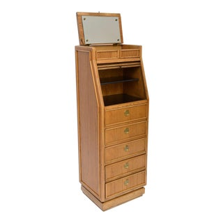Campaign Style Modern Tall Slender Dresser Valet by American of Martinsville 1960s