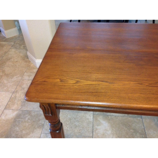 Antique 1900s Solid Wood Dining Table - Image 5 of 6