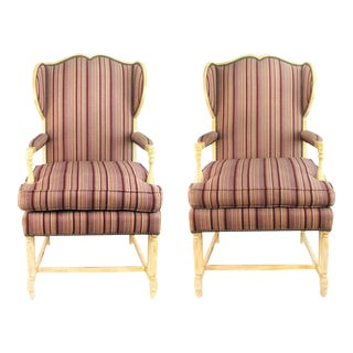 Striped Aubergine Upholstery Wingback Chairs, Pair