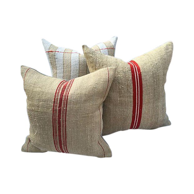 Vintage French Grain Sack Pillows - Set of 3 - Image 1 of 7
