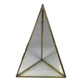 Brass and Glass Pyramid Display Case