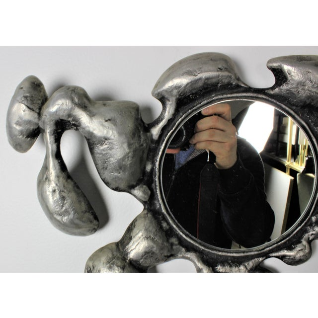 1970s Donald Drumm Brutalist Cast Aluminum Wall Mirror - Image 5 of 5