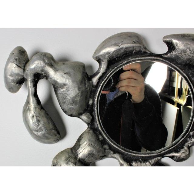 Image of 1970s Donald Drumm Brutalist Cast Aluminum Wall Mirror