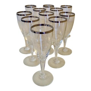 Silver Rim Wine or Champagne Glasses - Set of 11