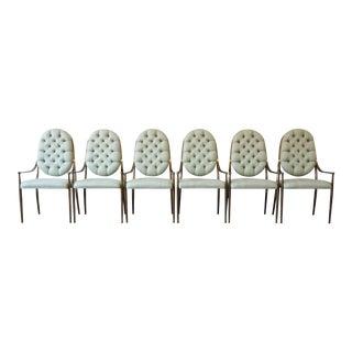 1970s Vintage Mastercraft Brass Regency Dining Chairs - Set of 6