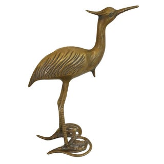 Vintage Brass Crane Bird Figure