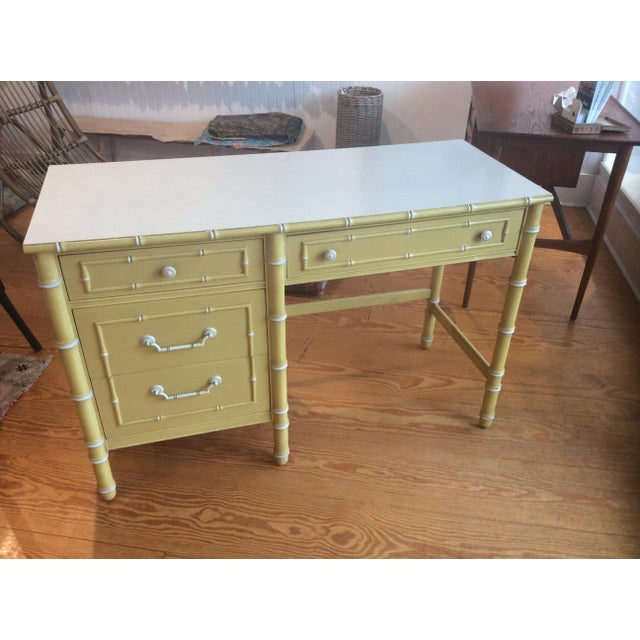 Thomasville Vintage Faux Bamboo Desk - Image 2 of 9