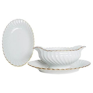 French Limoges Platter and Gravy Boat - S/2