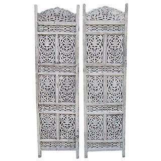 White Carved Shutters - A Pair
