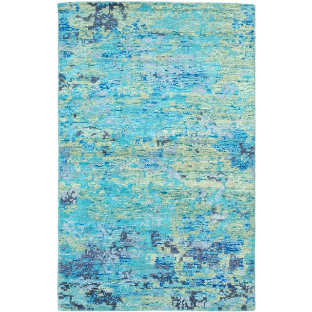 "Blue Hand-Knotted Sari Silk Rug - 5'1"" X 7'11"" - Image 1 of 2"