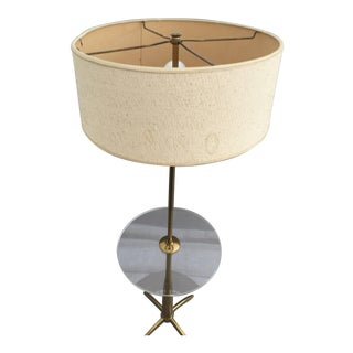 Brass and Acrylic Floor Lamp End Table
