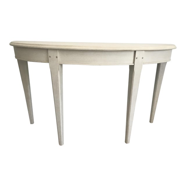 Leo burke white demilune console table chairish - White demilune console table ...