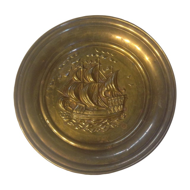 Mid Century Brass Ship Wallhanging - Image 1 of 5