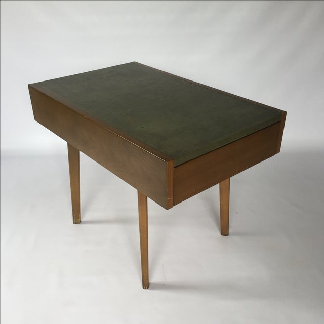 Image of George Nelson Herman Miller Leather Top Side Table