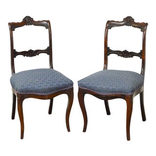 Antique 19th Century Rococo Revival Rosewood Side Chairs - A Pair