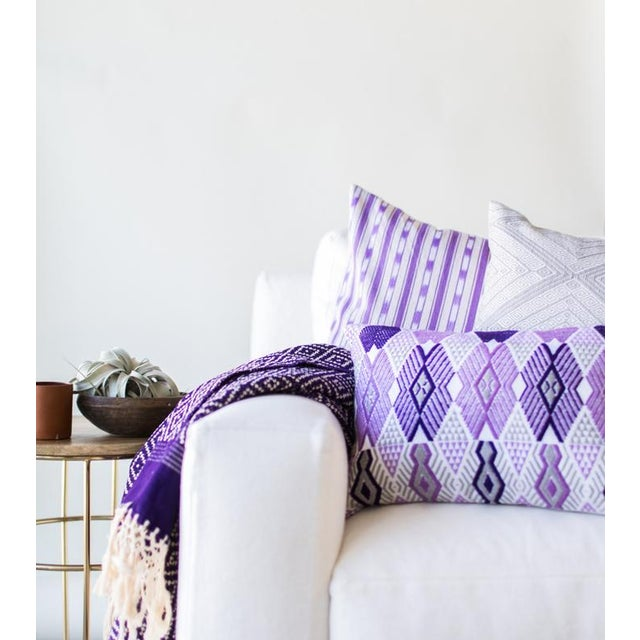 Handwoven Purple & Grey Guatemalan Pillow - Image 5 of 7