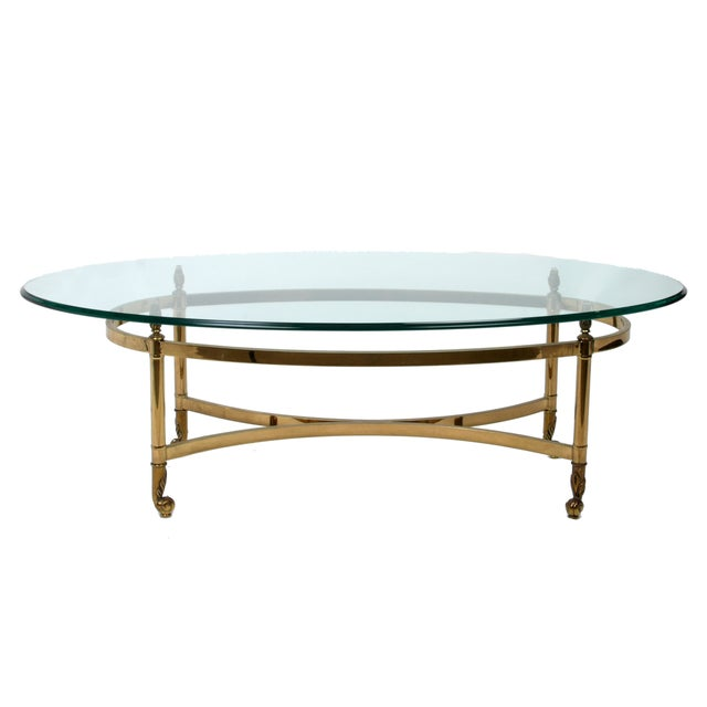 Image of Decorative French Glass & Brass Table