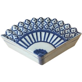 Asian Blue & White Fan Trinket Box