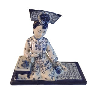 Chinoiserie Blue & White Porcelain Figure