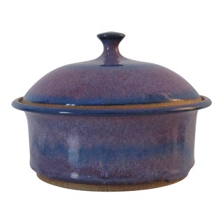 Blue & Purple Pottery Casserole Dish