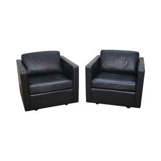 Black Leather Club Chairs by Metro - A Pair