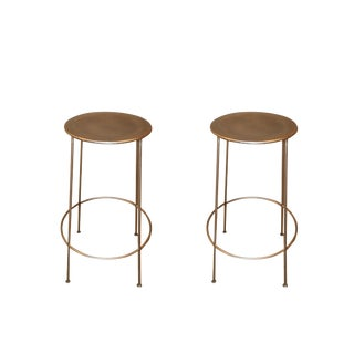 Modern Round Metal Stools - A Pair