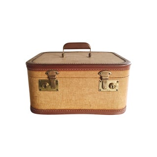 Vintage Train Case in Tan, Brown and Black