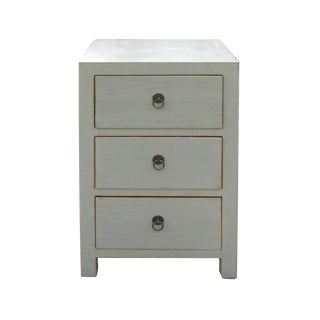 Chinese Light Gray 3-Drawer Cabinet Table