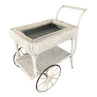 Heywood Wakefield Attributed White Wicker Bar Cart