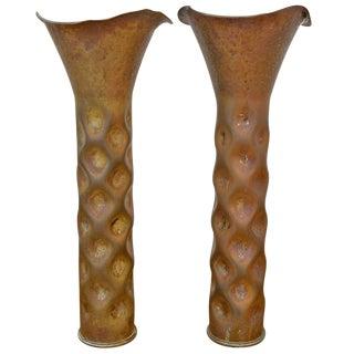 Rare Pair of Dirk Van Erp Shell Casing Vases