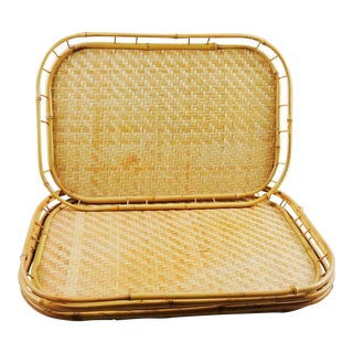 Tiki Bamboo Rattan Trays - Set of 4