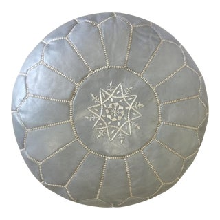 Silver Grey Moroccan Leather Pouf