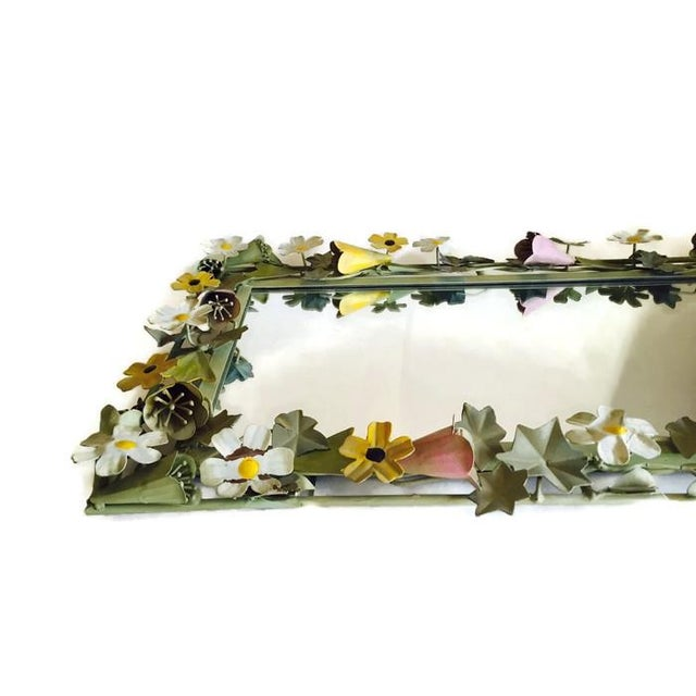 Vintage French Metal Tole Ware Flower Mirror - Image 2 of 6