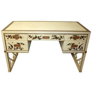 Vintage Sligh Debra Calvert Chinoiserie Leather Top Desk